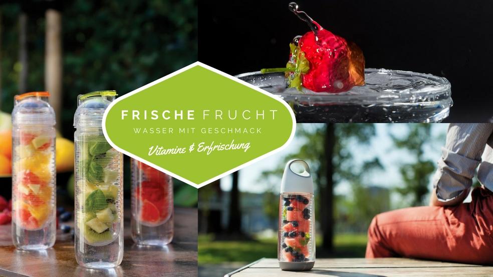 Die Trinkflasche Mit Fruchteinsatz Ist Das Sommer Werbegeschenk