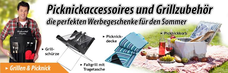 Picknick - Accessoires und Grill - Zubehör als Werbegeschenk, Werbeartikel oder Werbemittel mit Logo bedrucken