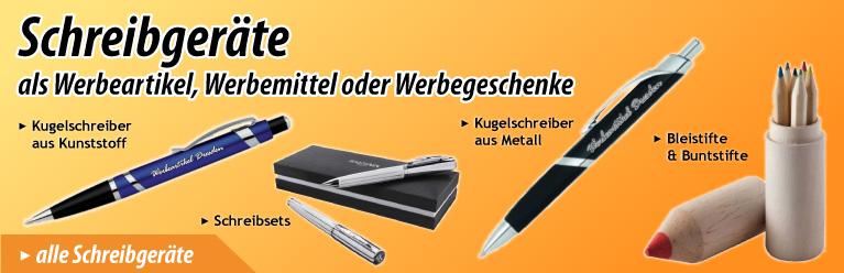 Schreibgeraete – Kugelschreiber, Bleistifte, Textmarker, u.v.m. als Werbeartikel, Werbemittel oder Werbegeschenk mit Logo bedrucken