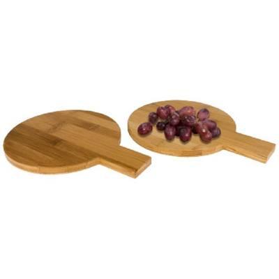 2-teiliges rundes Appetithappen-Set aus Bambus-holz