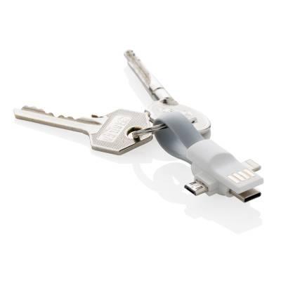 3-in-1 Kabel für den Schlüsselring-weiß