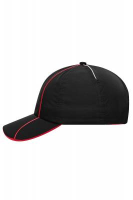 6 Panel Polyester Cap-MB6202-schwarz-rot-one size
