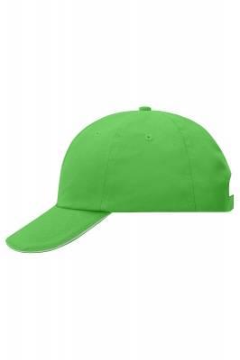 6 Panel Raver Sandwich Cap-MB6112-grün(limettgrün)-weiß-one size