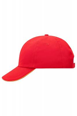 6 Panel Raver Sandwich Cap-MB6112-rot-weiß-one size