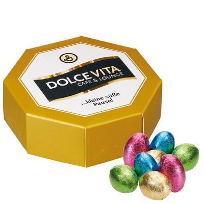 8-Eck-Geschenkbox mit Schoko-Ostereier-4-farbig