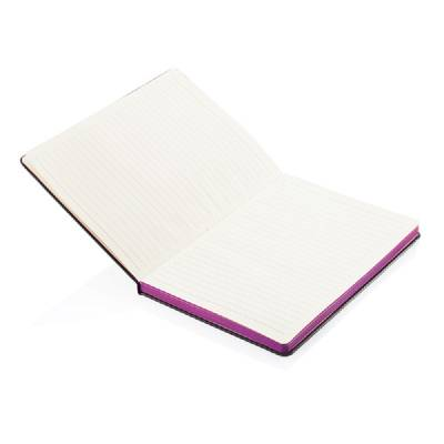 A5 Notizbuch mit farbigem Seitenrand - rosa - schwarz