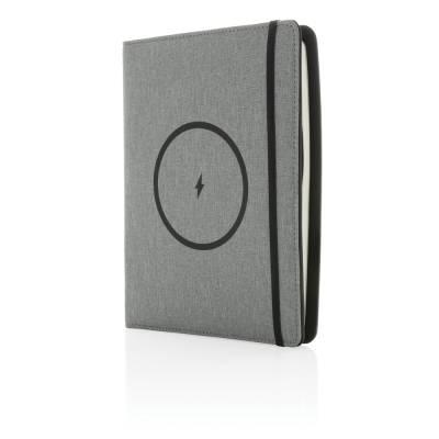 Air 5W RPET Wireless Charging Notizbuch-Cover A5-grau