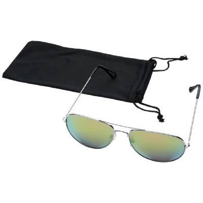 Aviator Sonnenbrille mit farbigen Spiegelgläsern-grün