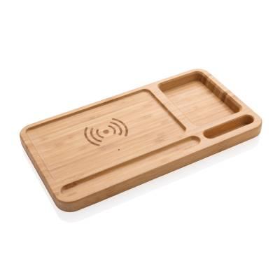 Bambus Schreibtisch-Organizer mit 5W Wireless Charger-braun
