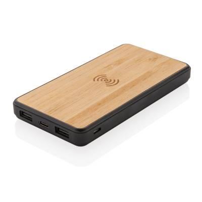 Bambus Wireless Charging Fashion Powerbank-schwarz-8000 mAh