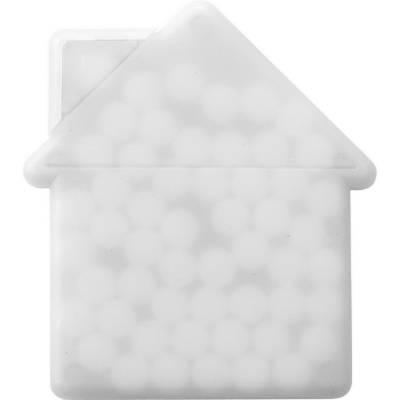 Box Wiesbaden mit Pfefferminzbonbons in Hausform-blau-