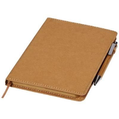 Celuk Kugelschreiber- und Notizbuch-Set-braun-blaue Mine