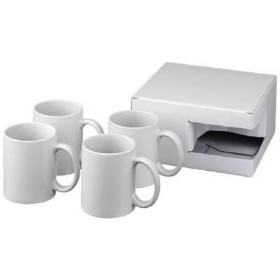 Ceramic Geschenkset mit 4 Bechern mit Sublimationsdruck-weiß
