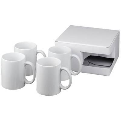 Ceramic Geschenkset mit 4 Bechern-weiß