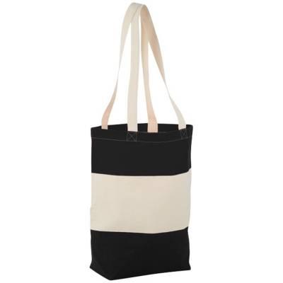 Colour Block Baumwoll Tragetasche-schwarz-naturfarben