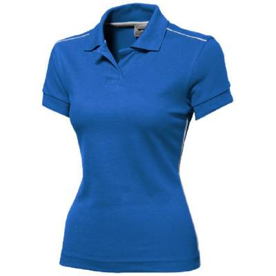 Damen Backhand Polo  - himmelblau - weiß - S