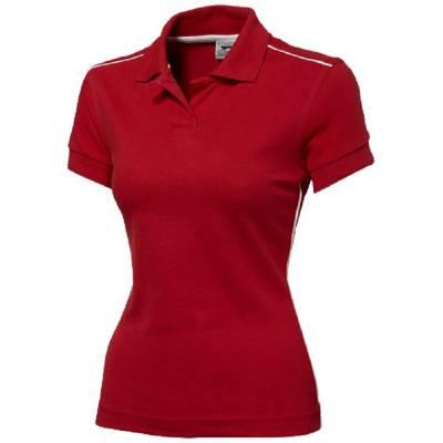 Damen Backhand Polo  - rot - weiß - S