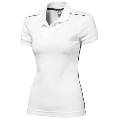 Damen Backhand Polo  - weiß - navy - M