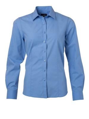 Damen Bluse lange Ärmel Poplin JN677-blau(aquablau)-XS
