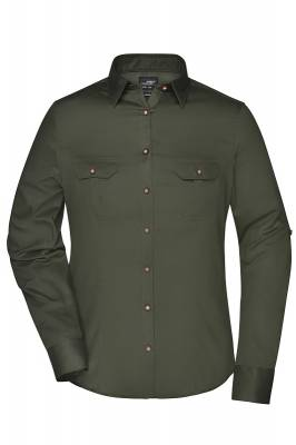 Damen Traditional Bluse Plain JN675-grün(olivgrün)-XS