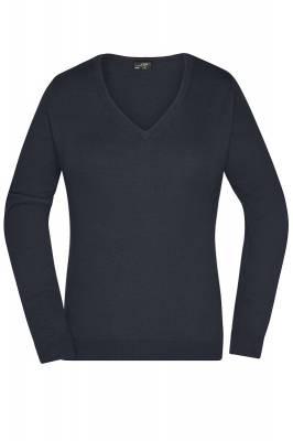 Damen V-Neck Pullover JN658-schwarz-XS