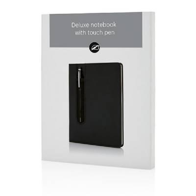 Deluxe A5 Notizbuch mit Stylus - schwarz