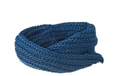 Doppellagiger Grobstrick Schlauchschal Bear-blau-one size-un