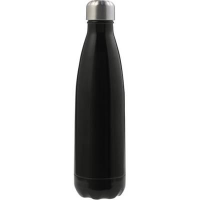 Doppelwandige Trinkflasche Lombok aus Edelstahl-schwarz