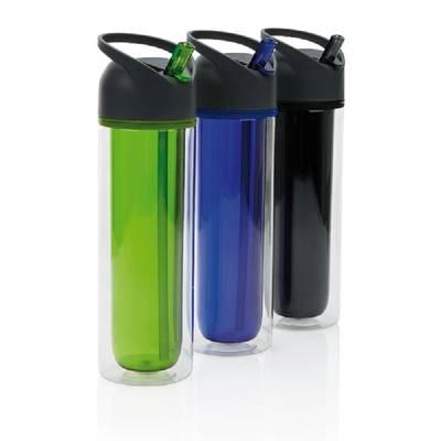 Doppelwandige Tritan Trinkflasche - schwarz