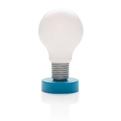drucklampe gl hbirne blau als werbegeschenke mit logo. Black Bedroom Furniture Sets. Home Design Ideas