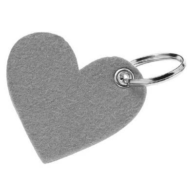 Filz-Schlüsselanhänger Motiv Herz - Farbe-grau
