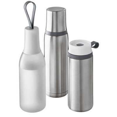 Flow Vakuum Isolierflasche-silber-grau(dunkelgrau)