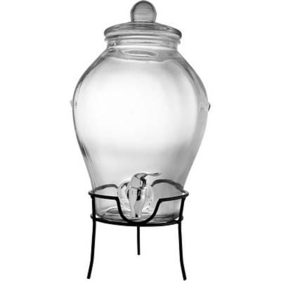 Glastank für Getränke mit Zapfhahn 6,3L