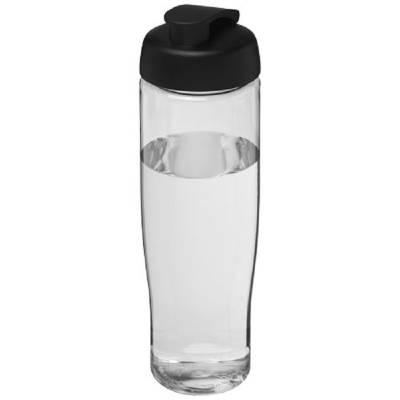 H2O Tempo 700 ml Sportflasche mit Klappdeckel-transparent-schwarz