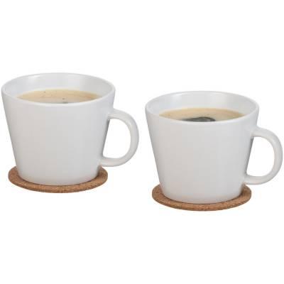 Hartley Tassen Set mit Untersetzer-weiß