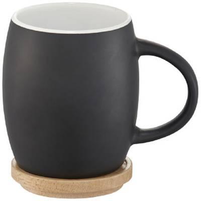 Hearth Keramiktasse mit Holz Deckel & Untersetzer-weiß-schwarz