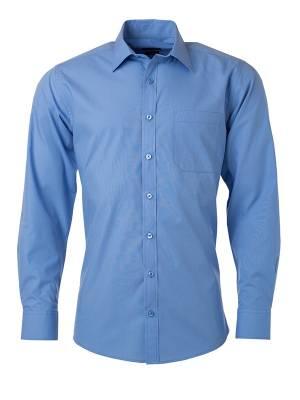 Herren Hemd lange Ärmel Poplin JN678-blau(aquablau)-S