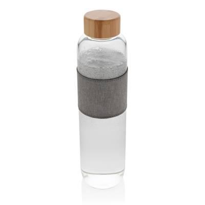 Impact Borosilikat-Glasflasche Fulda mit Bambusdeckel-transparent