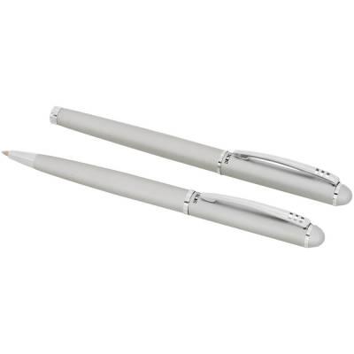 Kugelschreiber-Geschenkset-silber-schwarze Mine