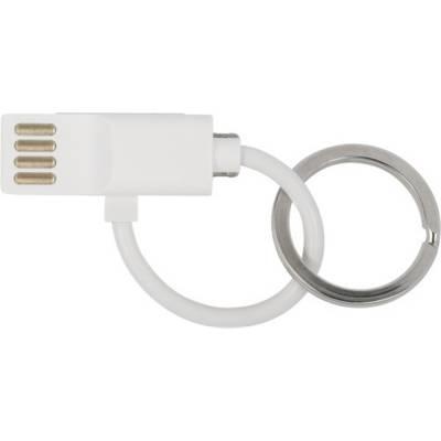 Ladekabel Thor mit USB, USB-C, Lightning Anschluss aus Kunst-weiß