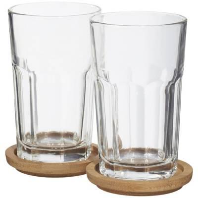 Linden 2er Glasset mit Deckel & Untersetzer-transparent