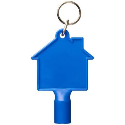 Maximilian Zählerkastenschlüssel in Hausform mit Schlüsselan-blau