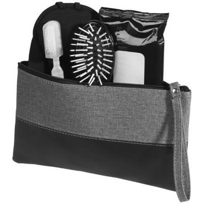 Melierte Kosmetiktasche-schwarz