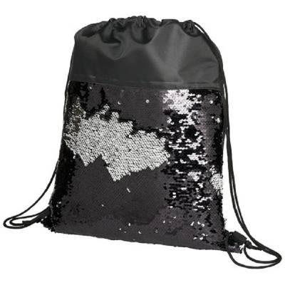 Mermaid Rucksack mit Kordelzug und Pailletten-schwarz