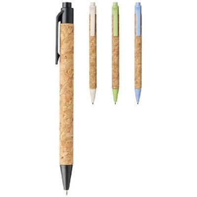 Midar Kugelschreiber aus Kork und Weizenstroh-grün-schwarze Mine