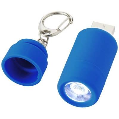 Mini Taschenlampe mit USB-Port - hellblau