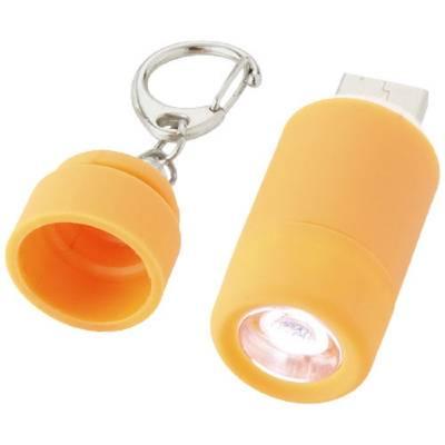 Mini Taschenlampe mit USB-Port - orange