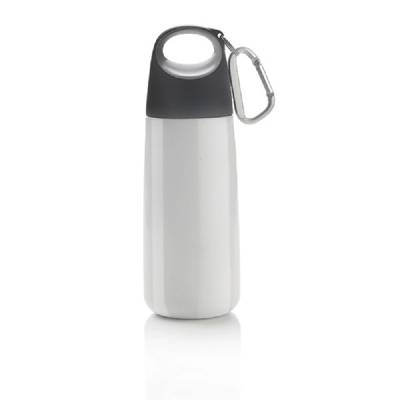 Mini-Trinkflasche Lübeck mit Karabiner - weiß