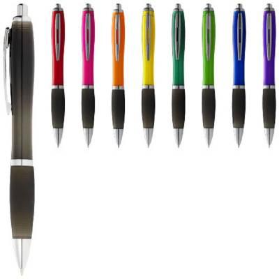 Nash Kugelschreiber farbig mit schwarzem Griff-rot-blaue Mine-schwarz