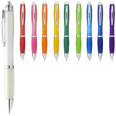 Nash Kugelschreiber mit farbigem Schaft und Griff-weiß-blaue Mine